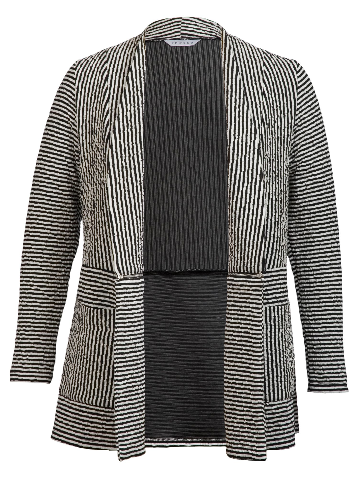 Striped cloque cardigan