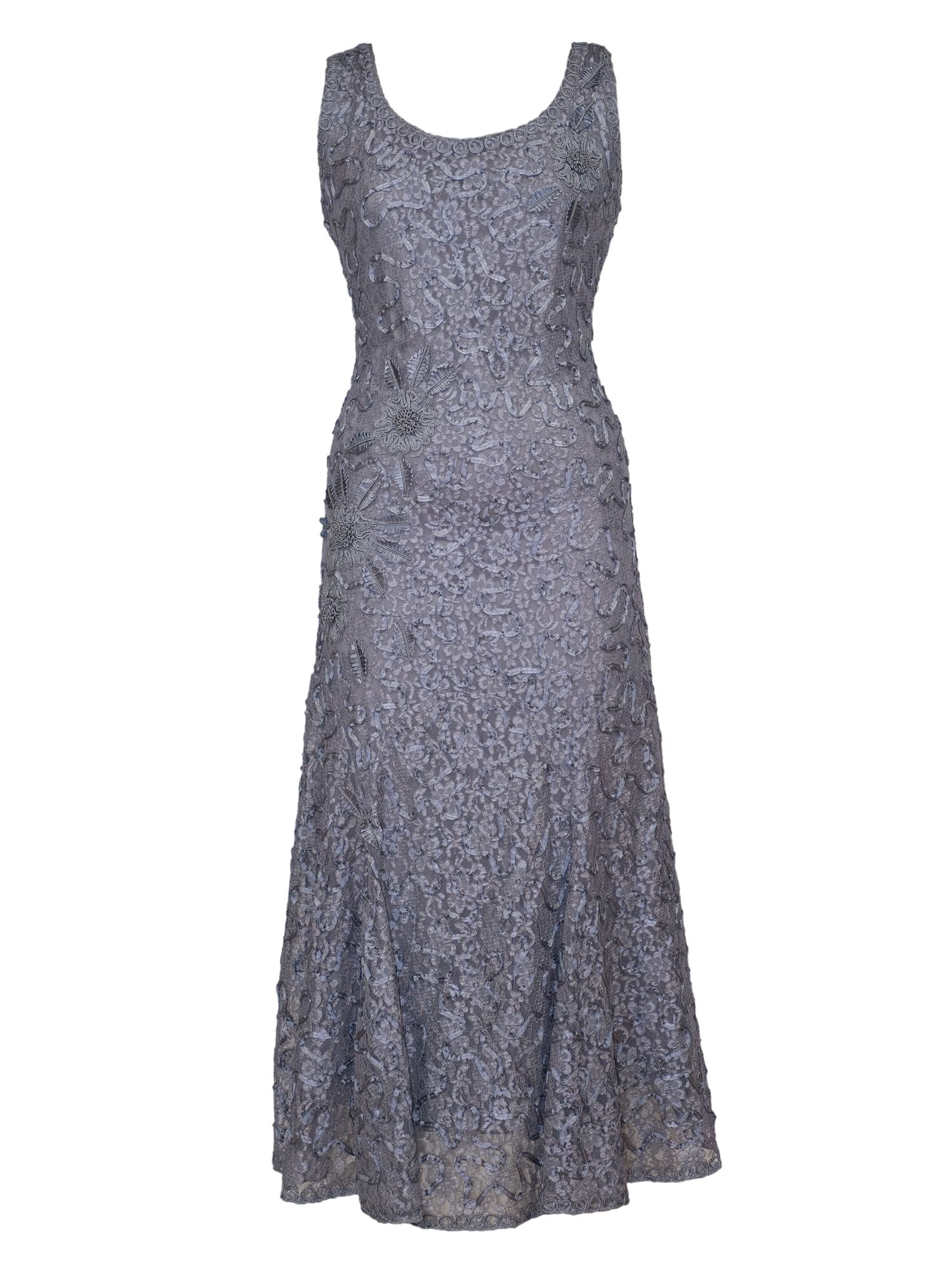 Chesca Cornelli Embroidered Lace Dress, Grey