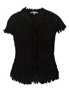 Chesca Plus Size Laser cut crush pleat petal blouse