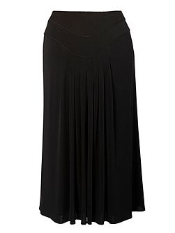 Piping trim jersey skirt with tuck detailing