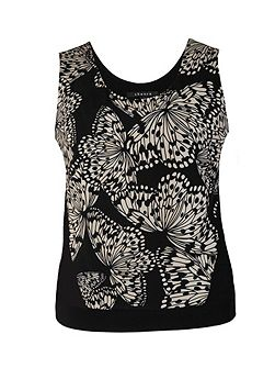 Plus Size Butterfly Print Jersey Camisole