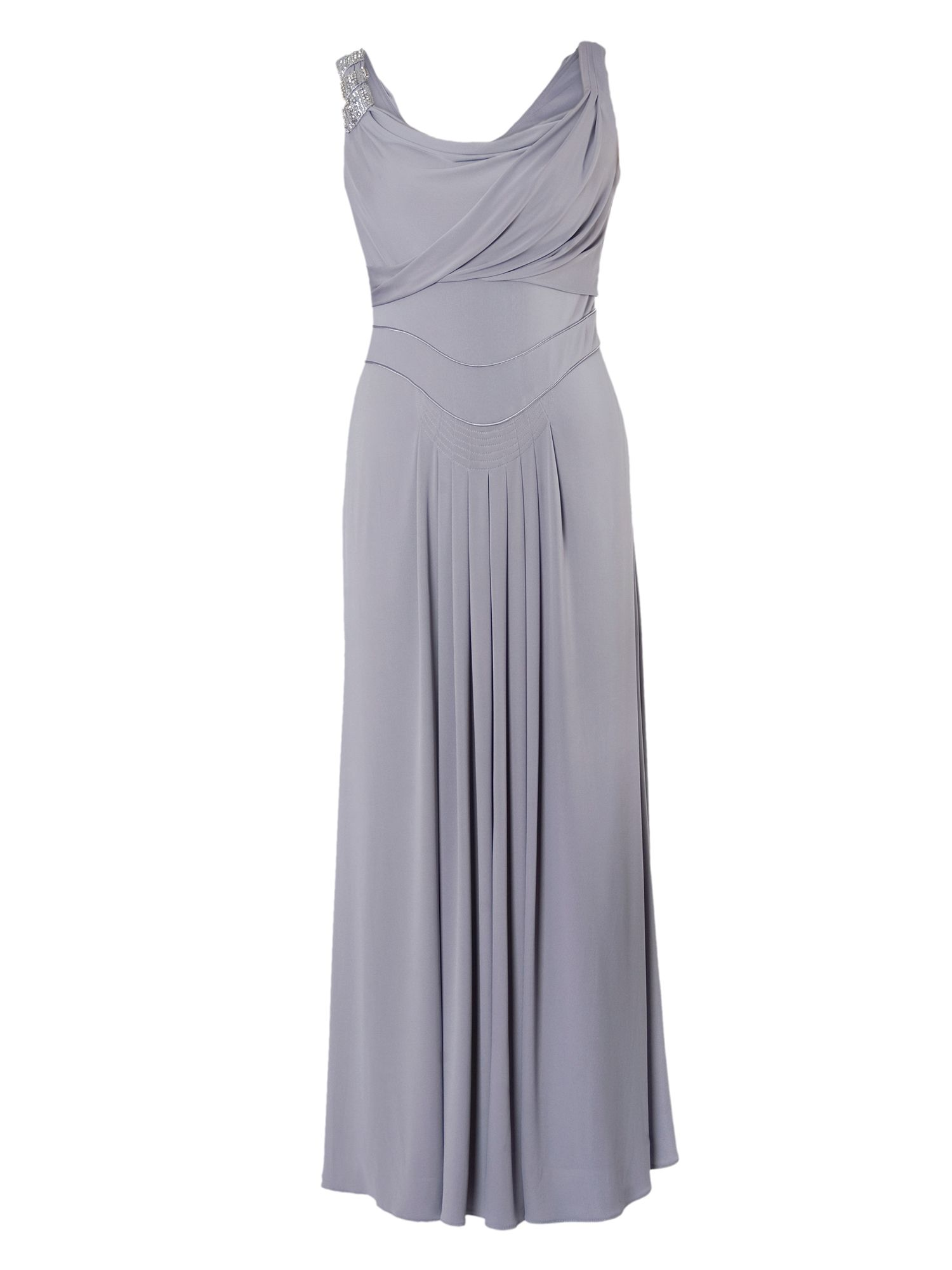 Silver Grey Cowl & Drape Detail Evening Dress