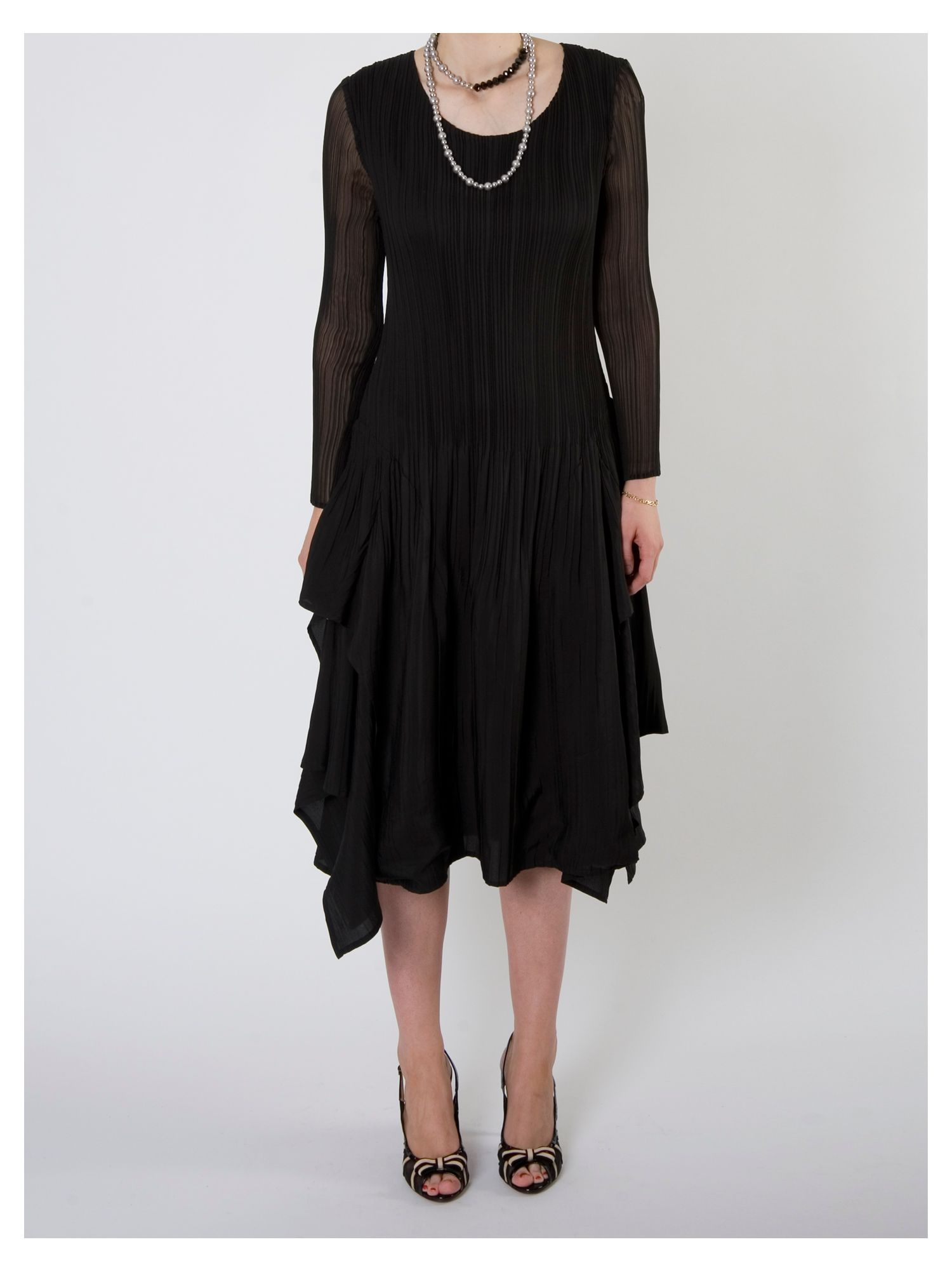 Crush pleat layered dress