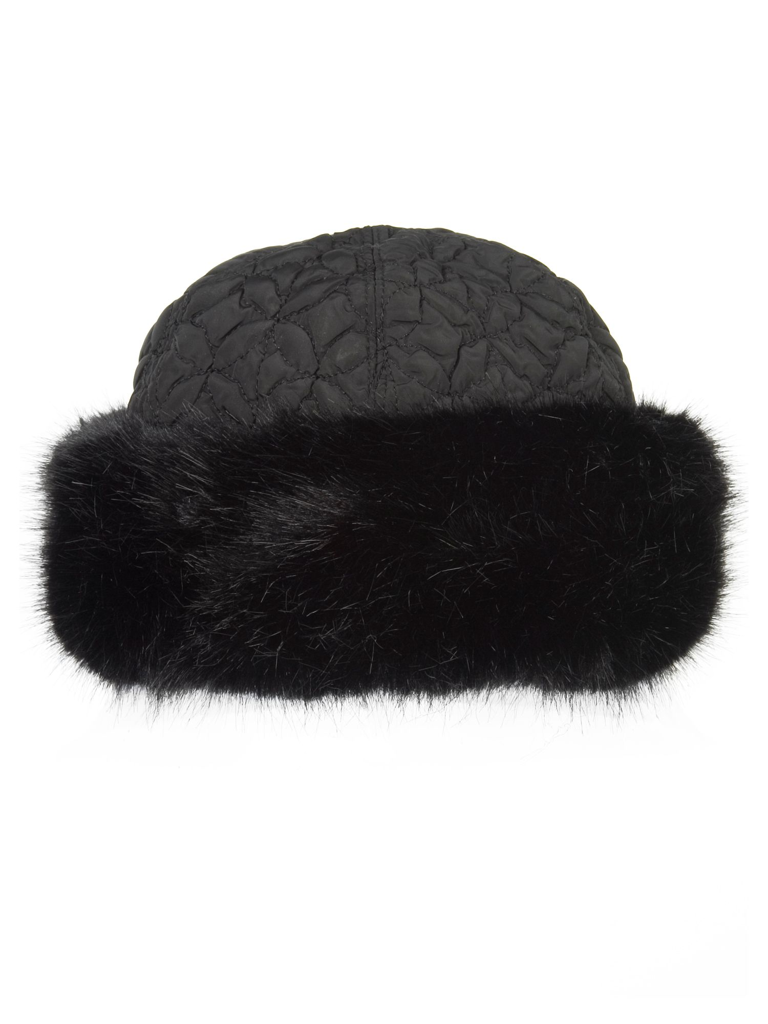 Chesca Black faux fur trim quilted hat Black