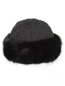 Black fur trim quilted hat