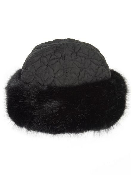 Chesca Black faux fur trim quilted hat