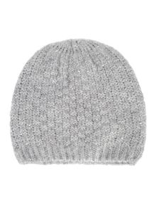 Grey knitted sequin beret