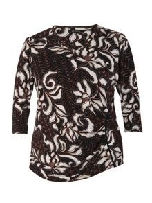 Chesca Abstract floral leaf printed jersey top