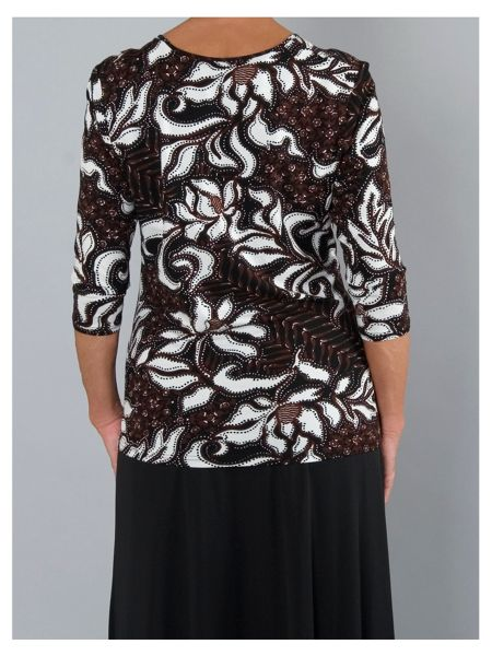 Abstract floral leaf printed jersey top