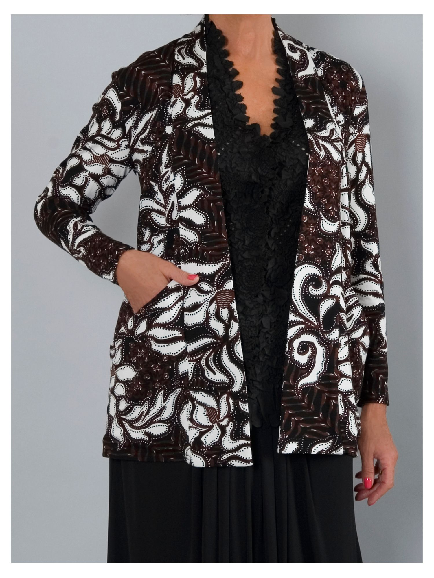 Abstract floral leaf print jersey shrug