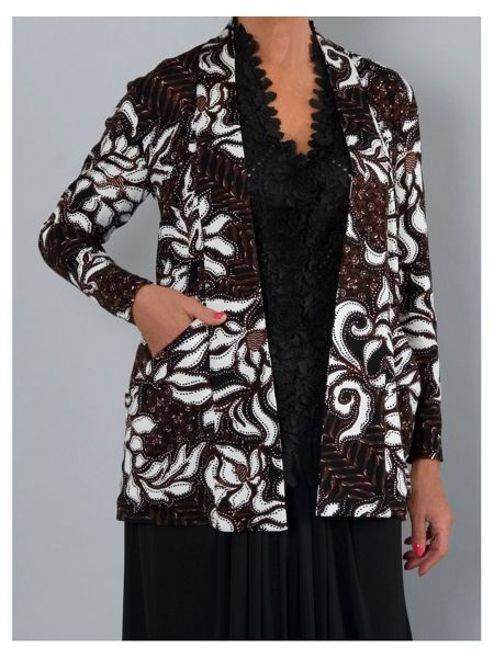 Chesca Abstract floral leaf print jersey shrug
