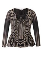 Chesca Snake Print Crush Pleat Top With Macrame Trim