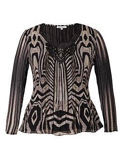 Chesca Snake Print Crush Pleat Top With Macrame