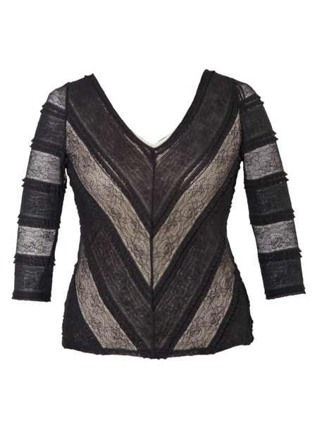 Chesca Plus Size Striped sheer stretch lace top