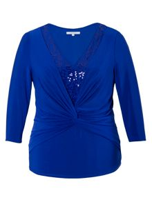 Chesca Plus Size Knot front jersey top with sequin trim