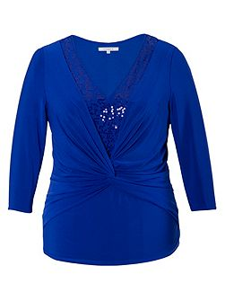 Chesca Plus Size Knot front jersey top with