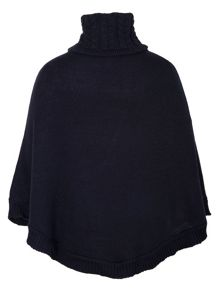 Funnel neck poncho with buckle detailing
