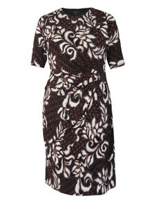 Abstract floral leaf print jersey dress