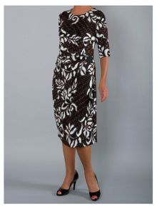 Chesca Abstract floral leaf print jersey dress