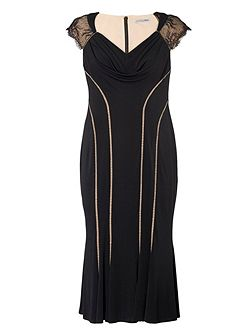 Plus Size Evening Dress with Lace Back Detail