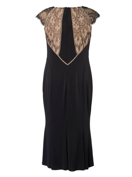 Chesca Plus Size Evening Dress with Lace Back Detail