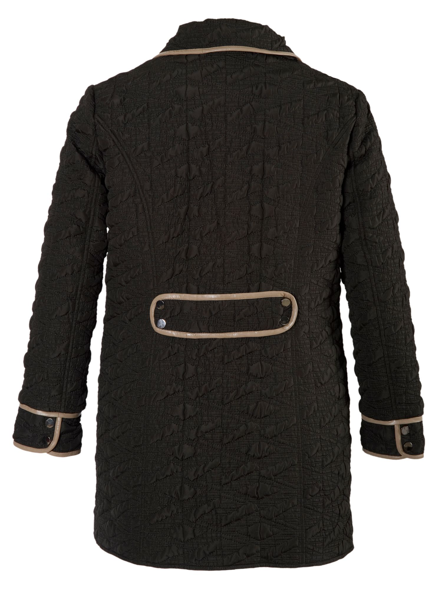 Quilted Coat with Contrast Piping Trim