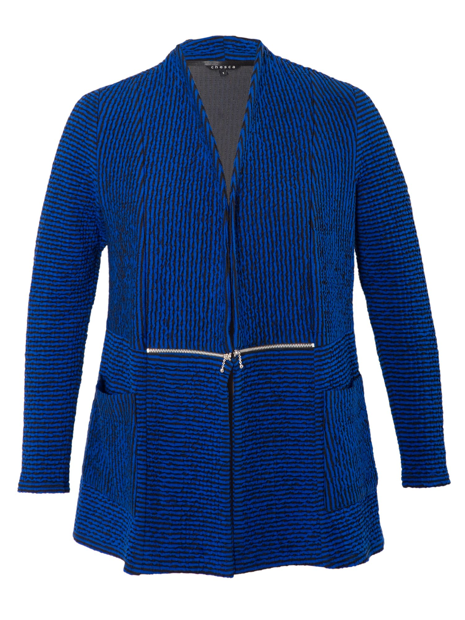Striped Cloque Zip Detail Cardigan