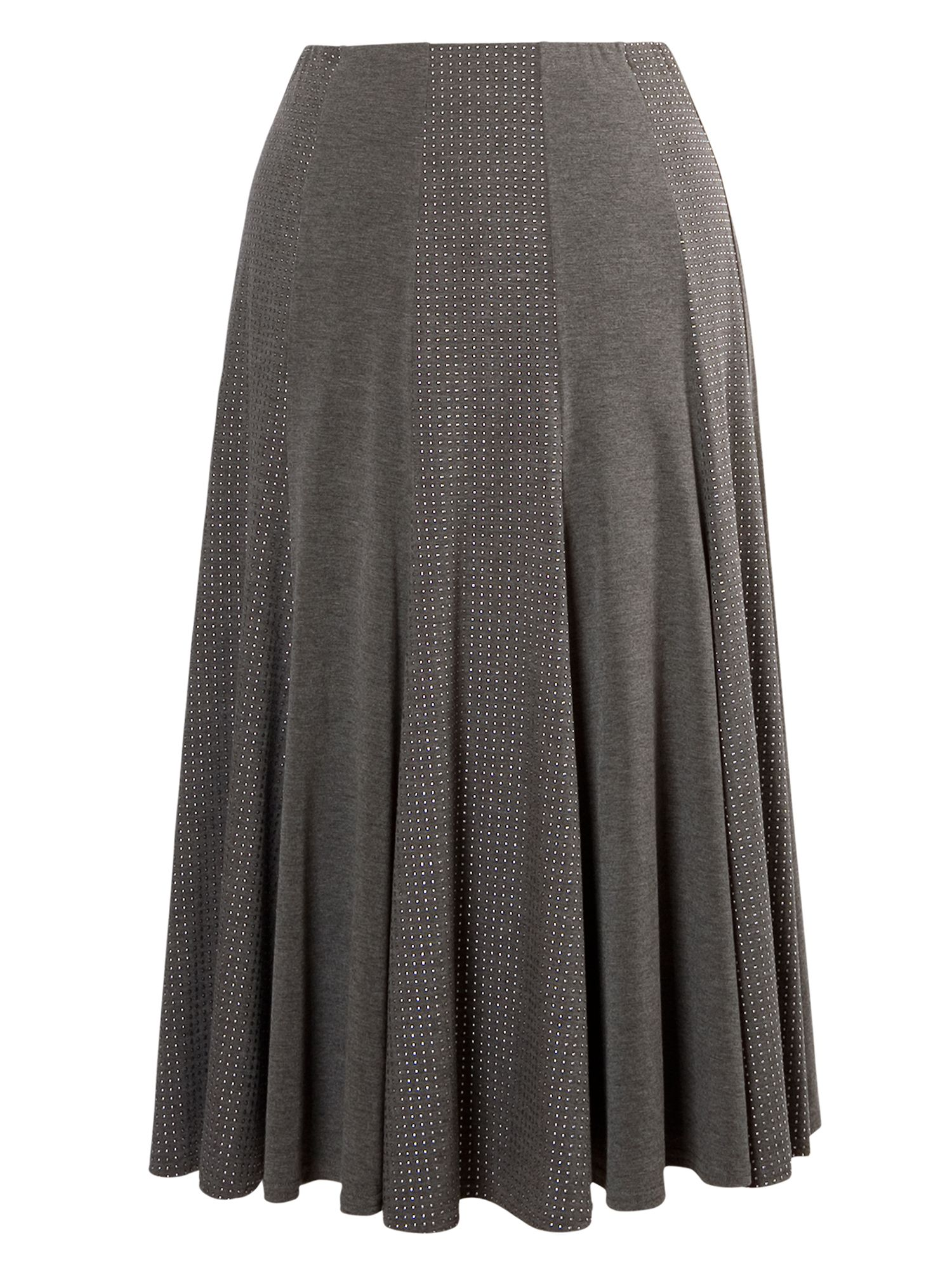Studded melange jersey mixed panel skirt