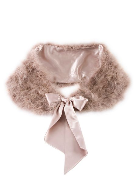 Chesca Feather Stole with Satin Ties