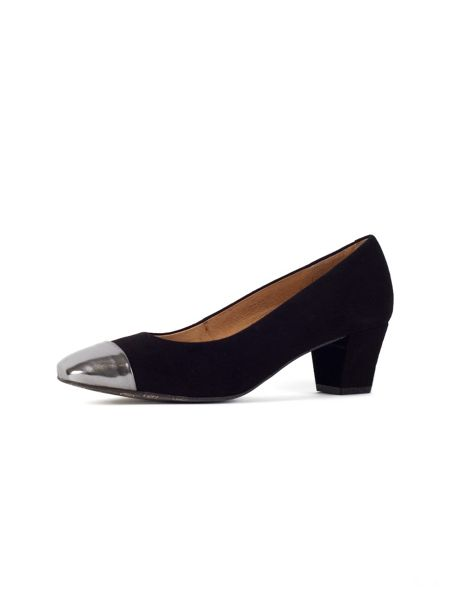 Chesca Black Pewter Suede Court Shoes
