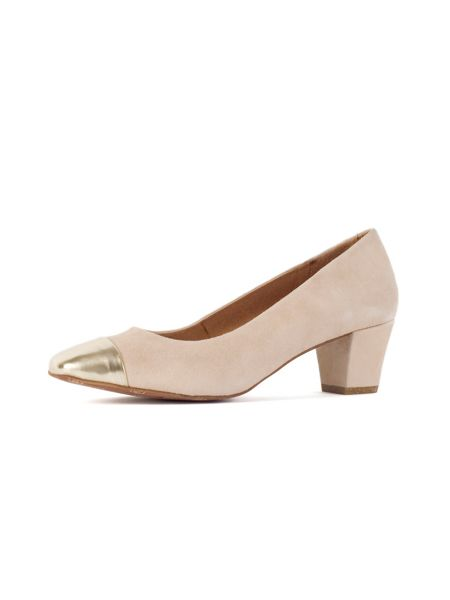 Chesca Beige Gold Suede Court Shoes