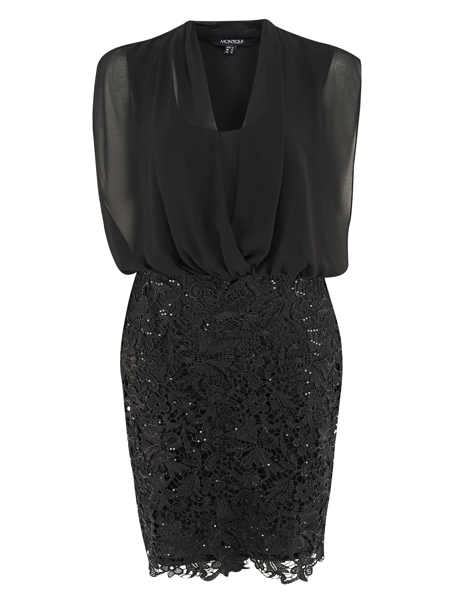 Black Blouson Lace Trim Dress