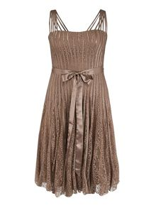Chesca Plus Size Mocha Lace and Satin Tape Dress