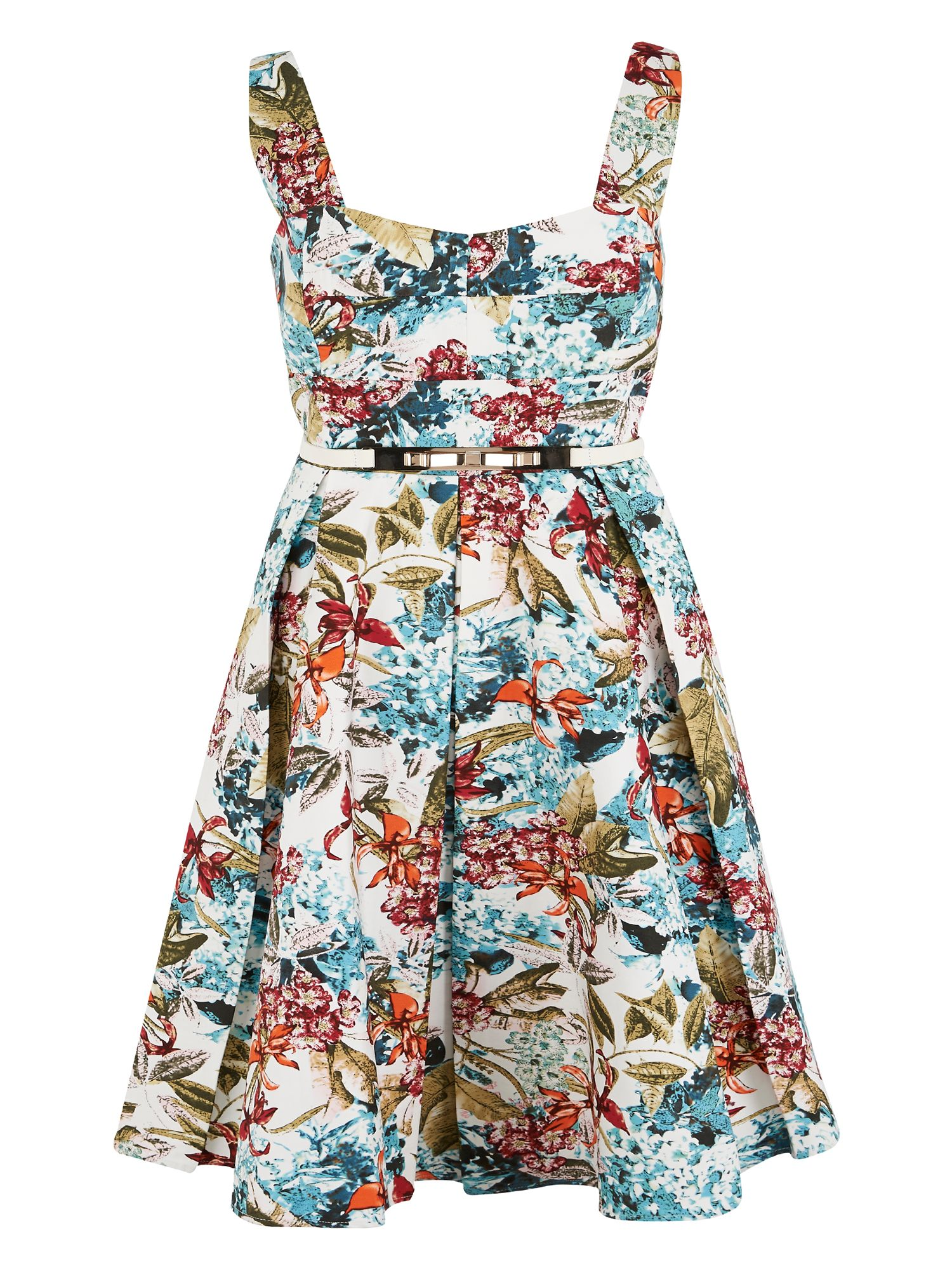 Floral Print Sateen Dress