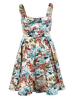 Plus Size Floral Print Sateen Dress