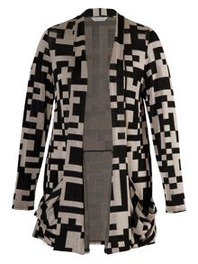 Plus Size Geometric jersey cardigan