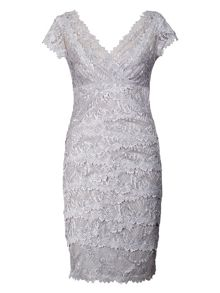 Tiered Lace Dress with Scallopped Edging