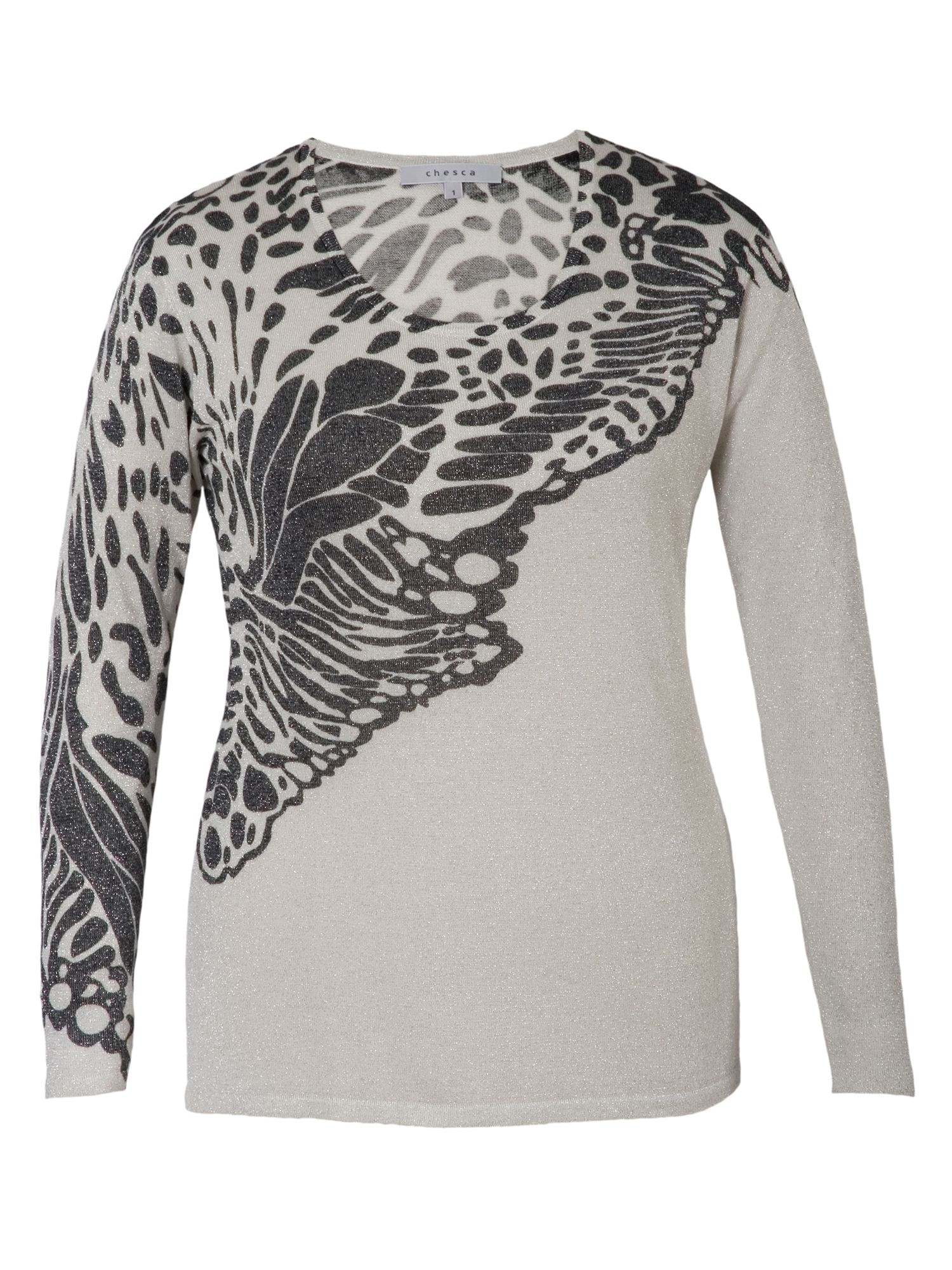 Butterfly Print Lurex Jumper
