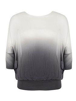 Plus Size Ombre Batwing Silk Top