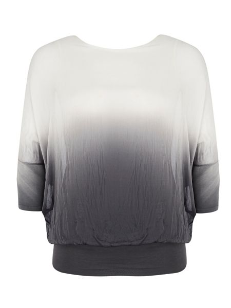 Chesca Plus Size Ombre Batwing Silk Top
