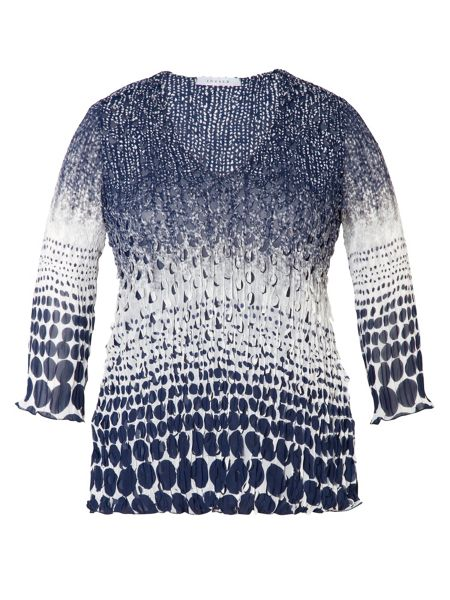 Chesca Plus Size Navy/white laser top