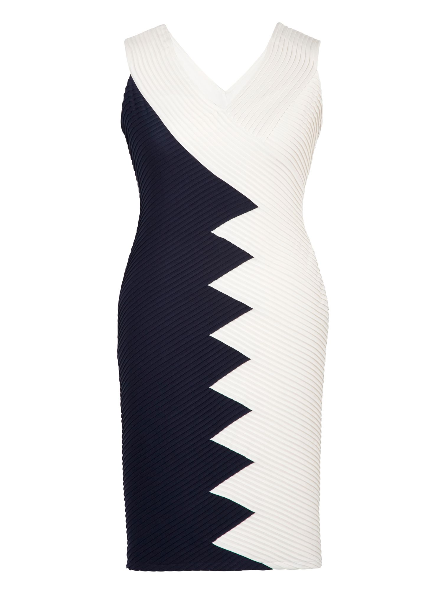 Chesca Navy/Ivory Contrast Panel Jersey Dress, Blue