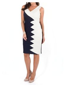 Navy/Ivory Contrast Panel Jersey Dress