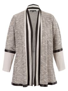 Chesca Plus Size Stripe Trim Space Dye Jersey Cardigan