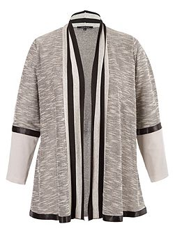 Plus Size Stripe Trim Space Dye Jersey Cardigan