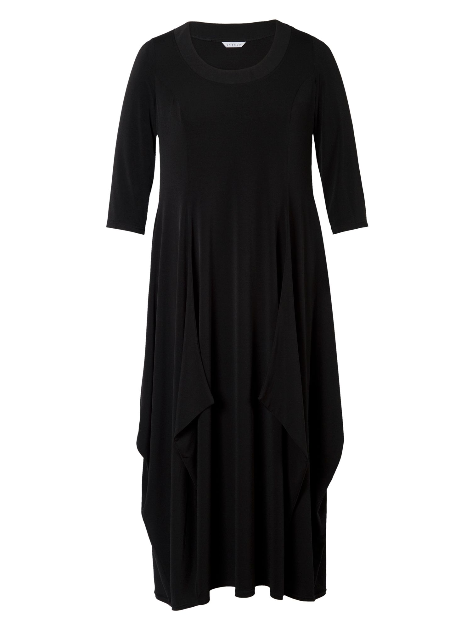 Jersey Drape Dress with 3/4 Sleeves