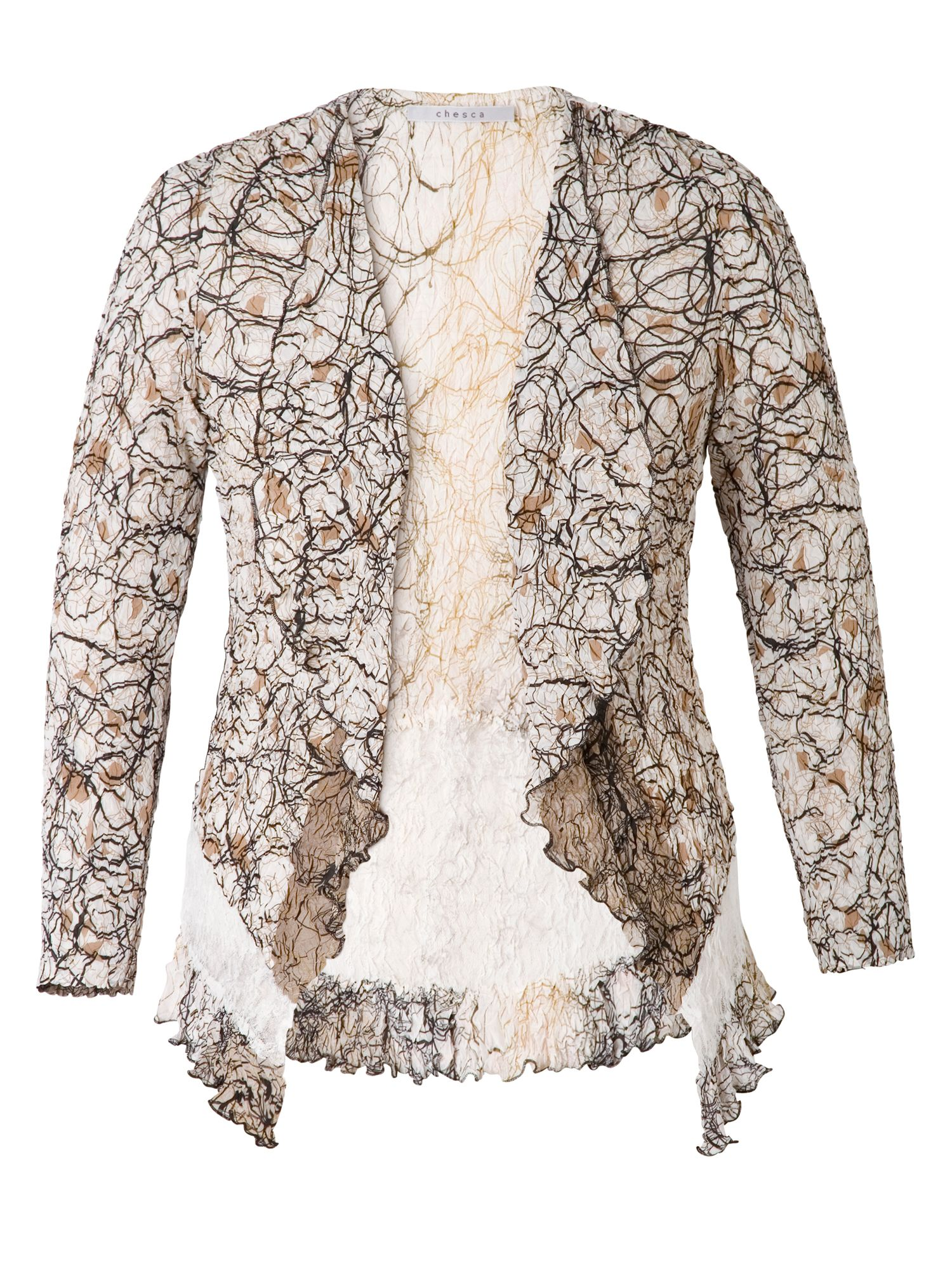 Chesca Scribble Print Shrug With Lace Trim, White