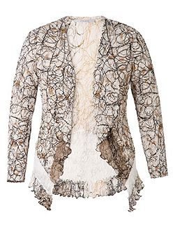 Scribble Print Shrug With Lace Trim