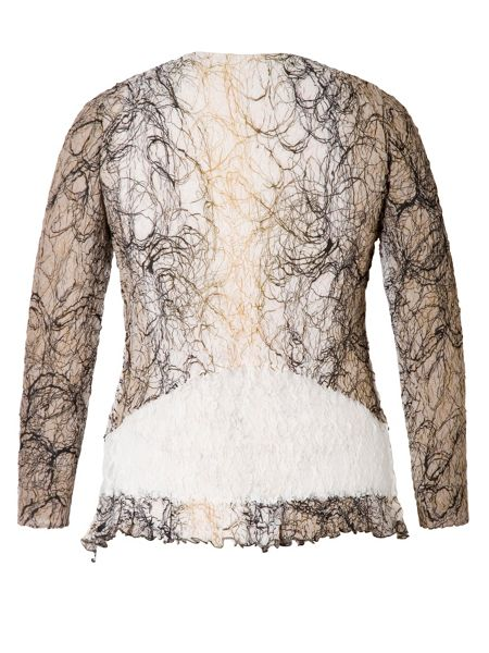 Chesca Scribble Print Shrug With Lace Trim