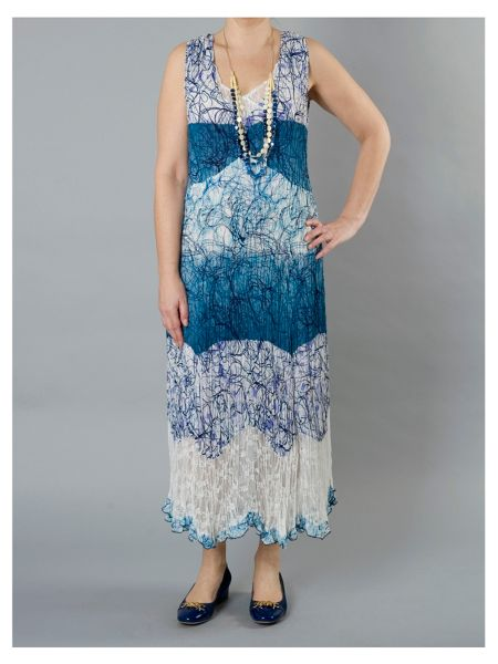 Chesca Plus Size Scribble Print Dress With Lace Trim